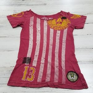 Affliction Distressed Top Stripes Size Small